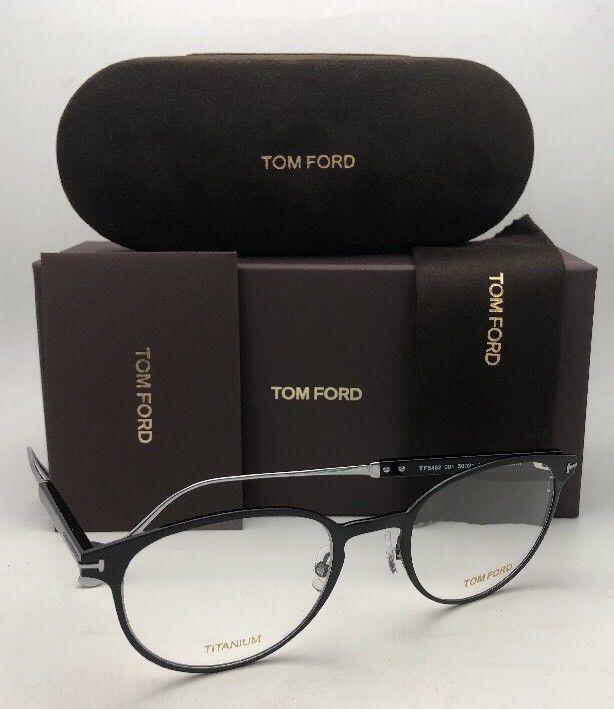 New TOM FORD Classic Eyeglasses TF 5482 001 50-21 Black & Silver Titanium Frames image 3
