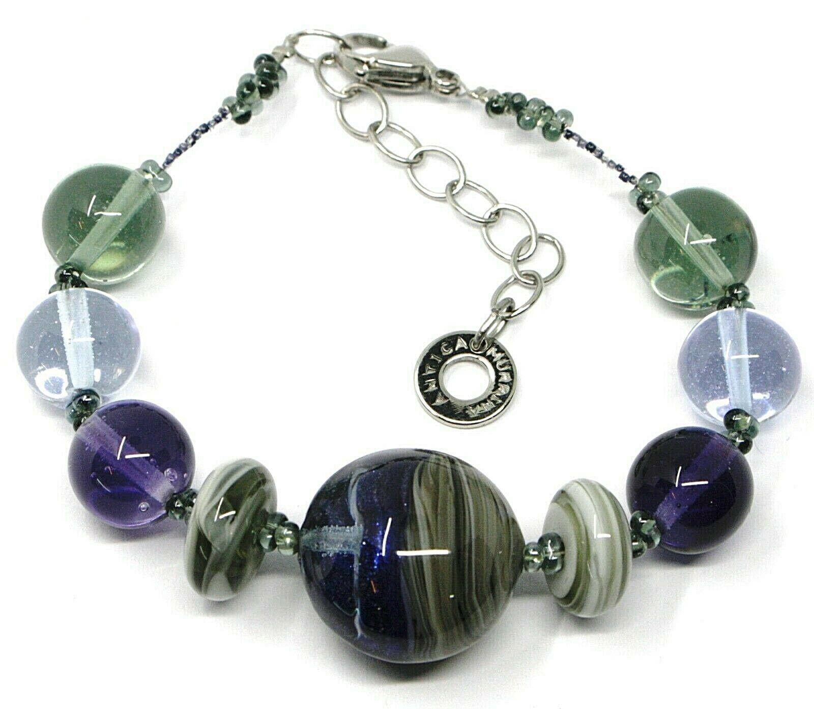 Bracelet Antica Murrina Venezia, BR578A27, Spheres Discs, Purple Green, Streaked