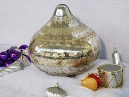 POTTERY BARN LARGE LIT ETCHED MERCURY ONION ORNAMENT A TASTY HOLIDAY DIS... - $49.95