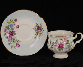Vintage  Crown Staffordshire Pink Blue Yellow Flowers England Cups Saucer Set - $32.39