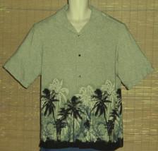 AxCess Hawaiian Shirt Green Black Blue Beige Palm Trees Size Large - $23.99