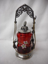 Antique Ruby Glass Handpainted Victorian Pickle Castor with Tongs - $868.73