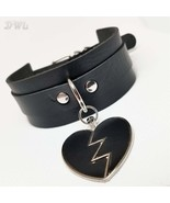 DWL BDSM Collar With Matching Broken Heart Charm In BLACK - $16.99