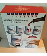 Set of 4 Americana Silicone Patriotic Unbreakable Glasses Stemless Cups ... - $18.69