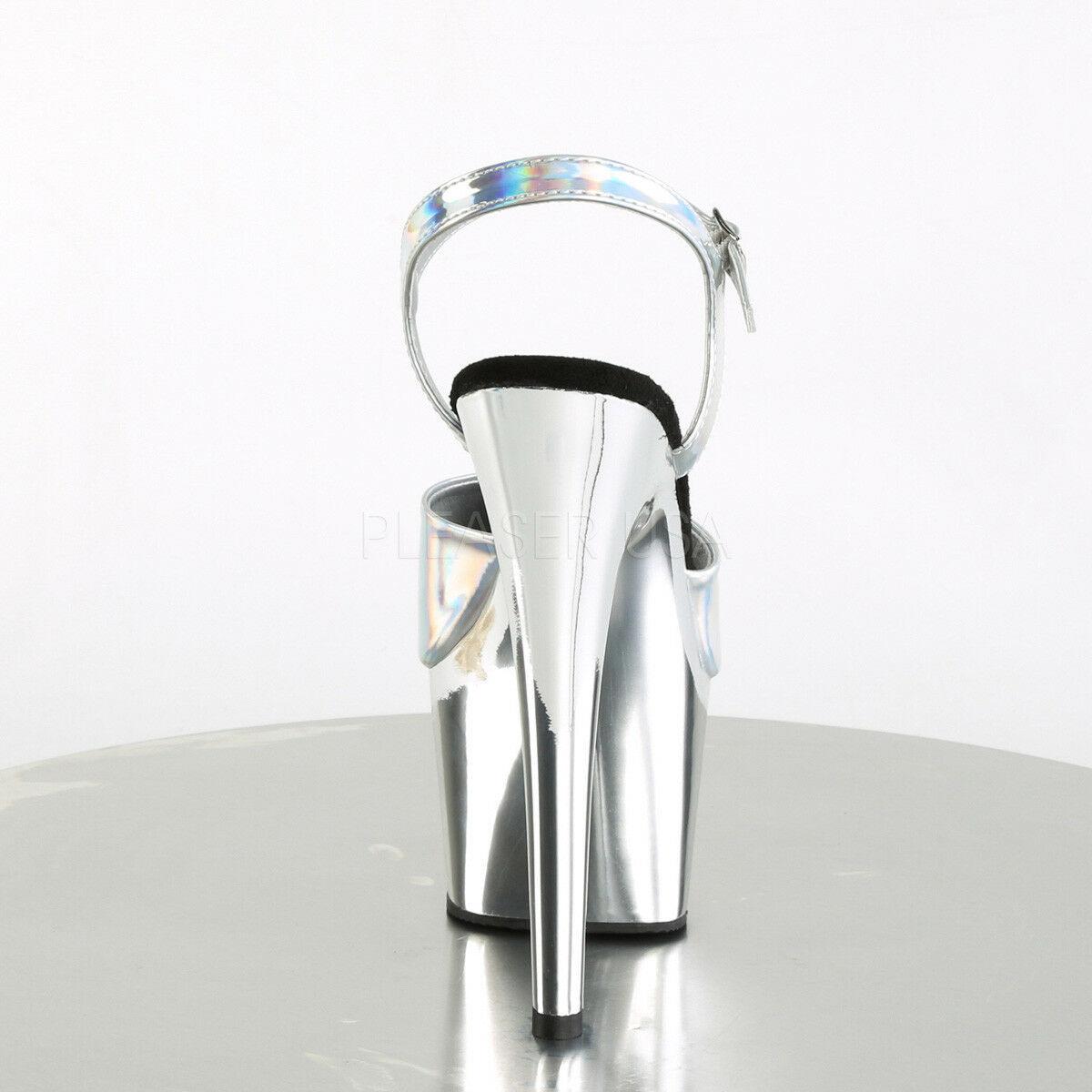 "PLEASER Sexy 7"" Heel Dancer Stripper Chrome Platform Silver Hologram Women Shoes"