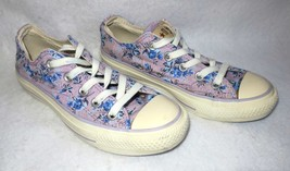 Converse All Star Low Top Lavender Blue Flowers Womens Size 5 Sneaker Shoes - $21.73