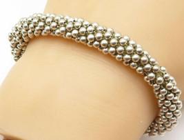 925 Sterling Silver - Vintage Shiny Petite Beaded Twist Chain Bracelet -... - $64.68