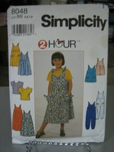 Simplicity 8048 Girl's Top, Dress or Jumper, Jumpsuit or Romper Pattern ... - $8.90