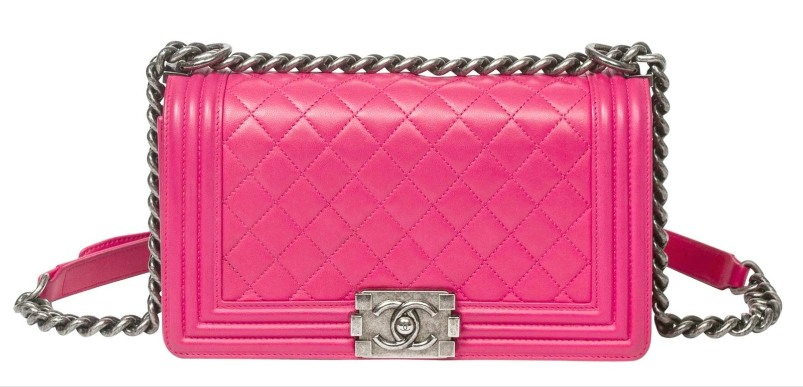 AUTHENTIC CHANEL HOT PINK QUILTED CALFSKIN Medium Boy Flap Bag