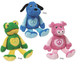 Zanies Dog Toy Plush Peace Party Pig Frog Pup Dog Toy Pet - £6.42 GBP