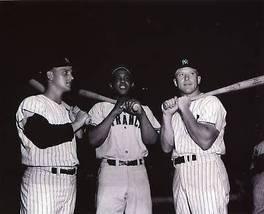Roger Maris Willie Mays Mickey Mantle Yankees Giants 8X10 BW Baseball Photo - $6.99