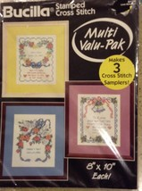 "BUCILLA Pack of 3 Love Samplers Stamped Cross Stitch Multi Pack 8"" x 10""... - $14.84"