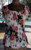 Gorgeous Floral Ruffle Trim Agora Pleat Blouse Sz. M - $26.72