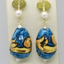 Yellow Gold Earrings 750 18K Pearls and a Drop Painted by hand Made in Italy image 2