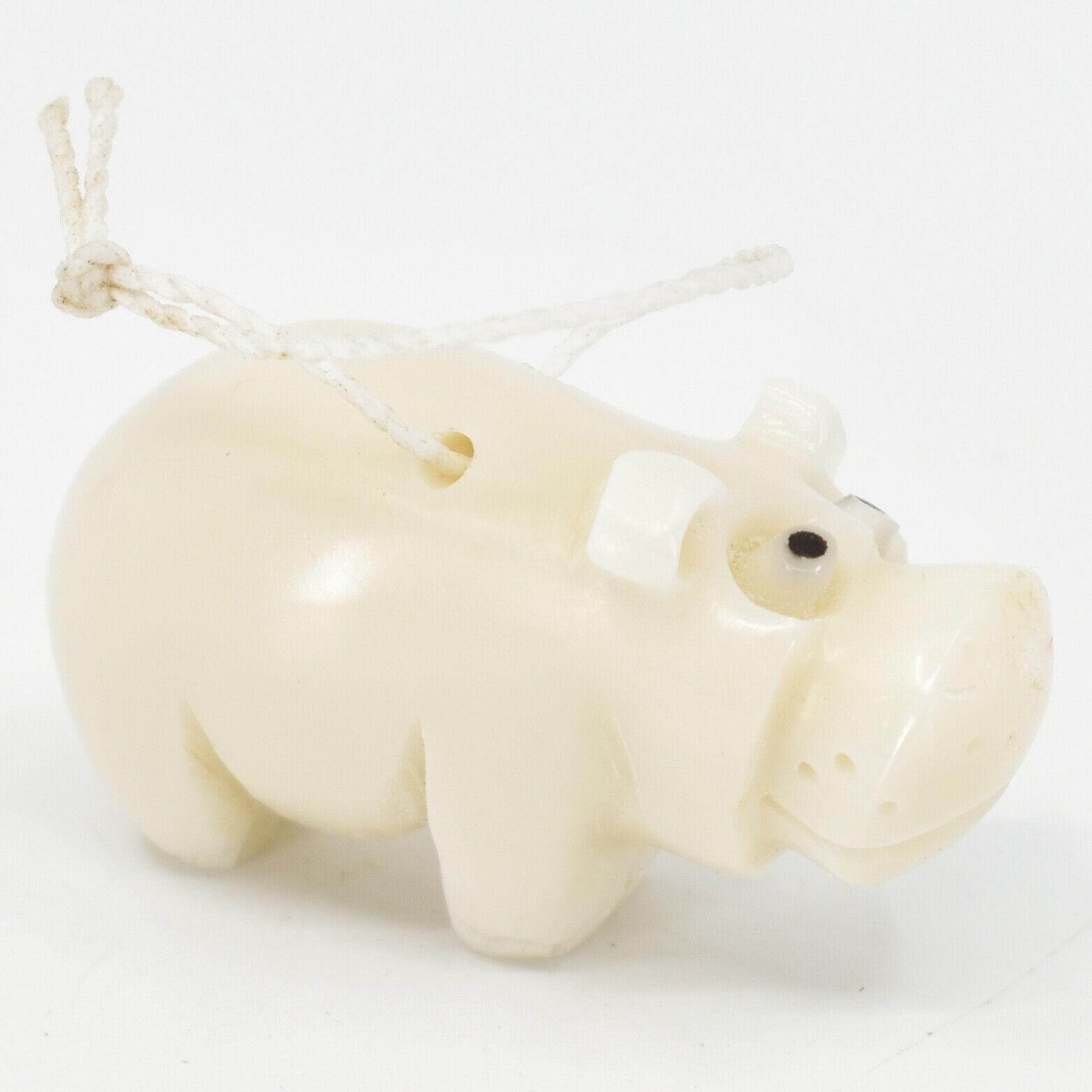 Hand Carved Tagua Nut Carving Small Hippo Hippopotamus Ornament Handmade Ecuador