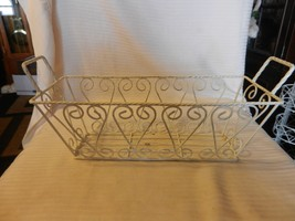 Decorative White Metal Rectangular Basket With Handles, Wire Design - $43.81