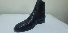 Handmade Men Black Leather Monk Strap High Ankle Boot image 5