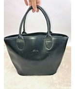 Longchamp France Tote Purse Black Leather Carry All Removable Center Bag - $74.24