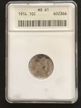 1914 Barber Dime ANACS MS 61 10 Cent Silver Coin - $100.00