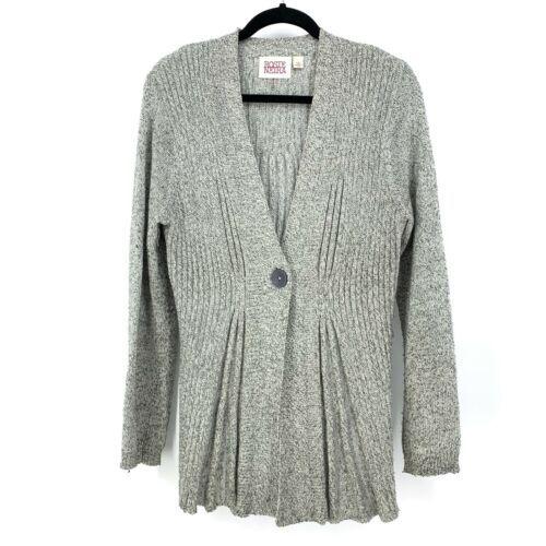 Anthropologie Rosie Neira Womens Sz L Marled Gray Cardigan Sweater Single Button