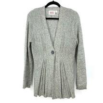 Anthropologie Rosie Neira Womens Sz L Marled Gray Cardigan Sweater Singl... - $37.39