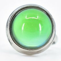 Classic Simple Silver Tone Round Cabochon Color Changing Adjustable Mood Ring image 5