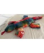 Ty 1999 Large Plush Beanie Buddy Lizzy the Lizard  MWMT Tie Dye Colorful... - $13.85