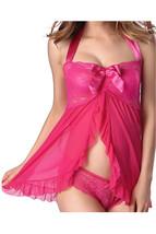 Unomatch Women Neck holder Strap Babydoll Silk Lingerie Set Pink - $19.99
