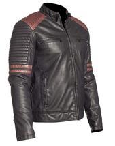 Mens Retro Powerhorse Moto Rider Cafe Racer Black Biker Leather Jacket image 2