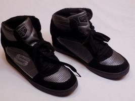 Skechers 9.5 M Black Skch+3 Wedge Leather Shoes Hi Top Sneaker 48036 Womens - $29.99