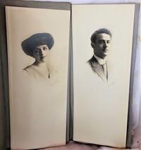 Two Vintage Photos Man & Woman w/ Gibson Girl Hair Barnard Studio Chicag... - $4.00