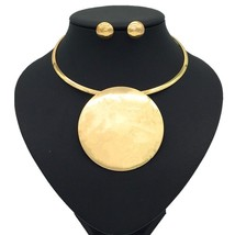 Liffly New Nigerian Bride Choker Set Gold Round Pendant Necklace Earring... - $29.48