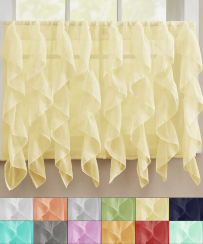 "Primary image for Sheer Voile Vertical Ruffle Window Kitchen Curtain 36"" Tier Pair"