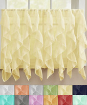 "Sheer Voile Vertical Ruffle Window Kitchen Curtain 36"" Tier Pair - $13.79"