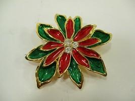 VTG Unsigned Christmas Brooch Red & Green Enamel Crystal Rhinestones Poi... - $13.27