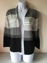 Liz Claiborne Womens Cardigan Sweater Striped  Size Large - $14.80