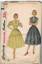 3541 Vintage Simplicity Sewing Pattern Misses 1950s Fitted Dress Gathere... - $19.79