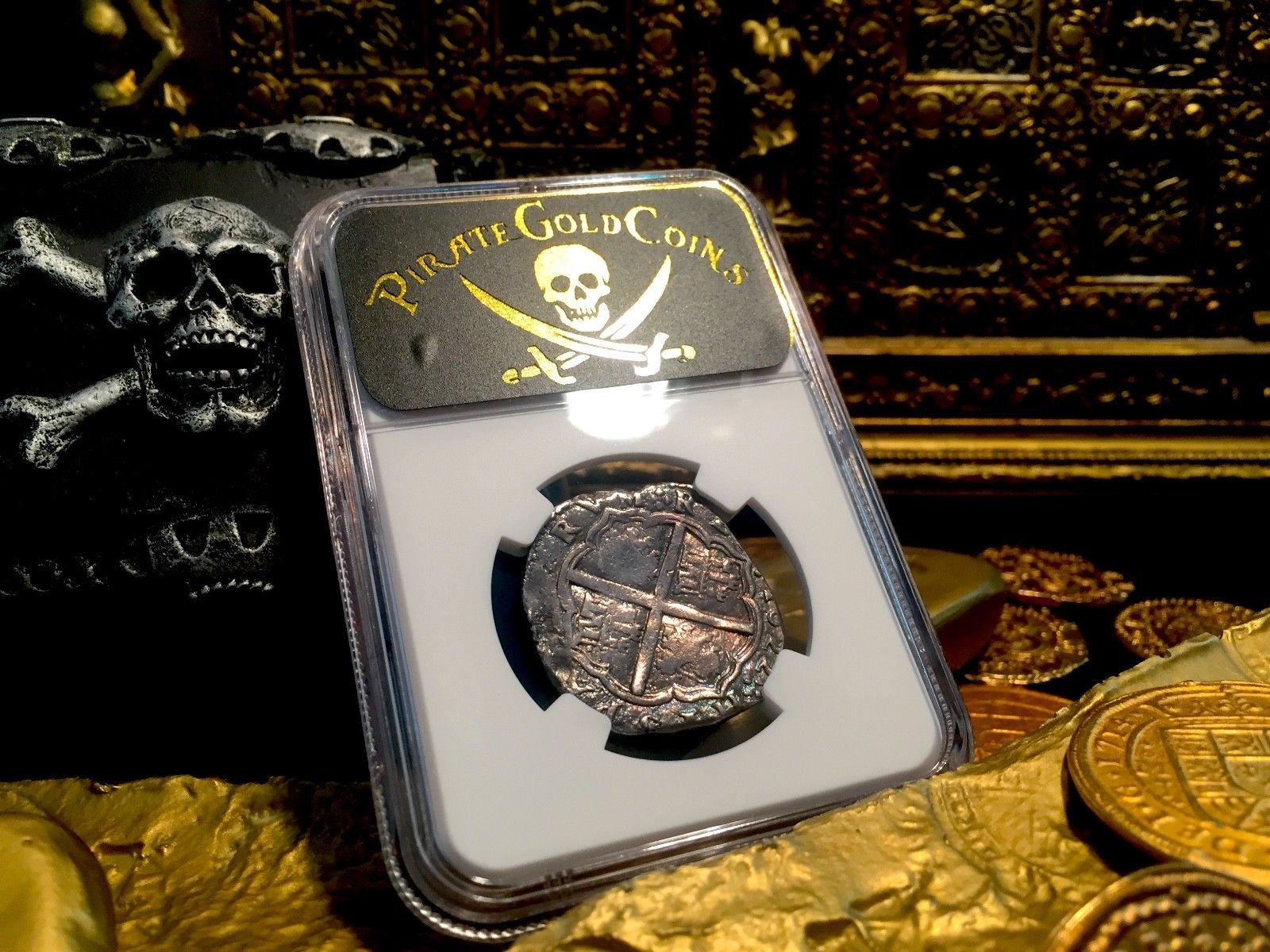 """SPAIN 4 REALES """"DATED 1622"""" ATOCHA YEAR SILVER PIRATE COIN TREASURE DOUBLOON!"""