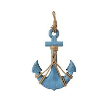Waroom Home Wooden Anchor with Rope and Crossbar, Blue Wood Nautical Dec... - $33.24