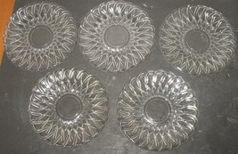 "5 Vintage Cut/Pressed Clear Basketweave Glass 5 7/8"" Saucers Replacement... - $18.81"