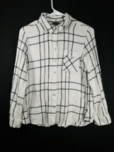 Eddie Bauer Womens White Black Plaid Button Front Long Sleeve Blouse Size Large - $12.19