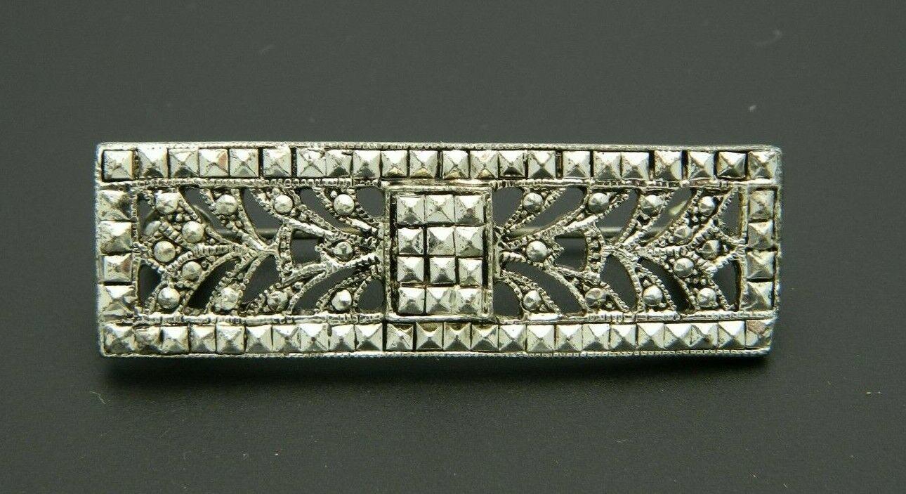 Art Nouveau Style Faux Marcasite Silver Tone Floral Pin Brooch Vintage