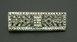 Art Nouveau Style Faux Marcasite Silver Tone Floral Pin Brooch Vintage - $19.79