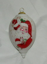 Santa Claus Christmas Ornament Season's Greetings Glass Reverse Painted ... - $24.74
