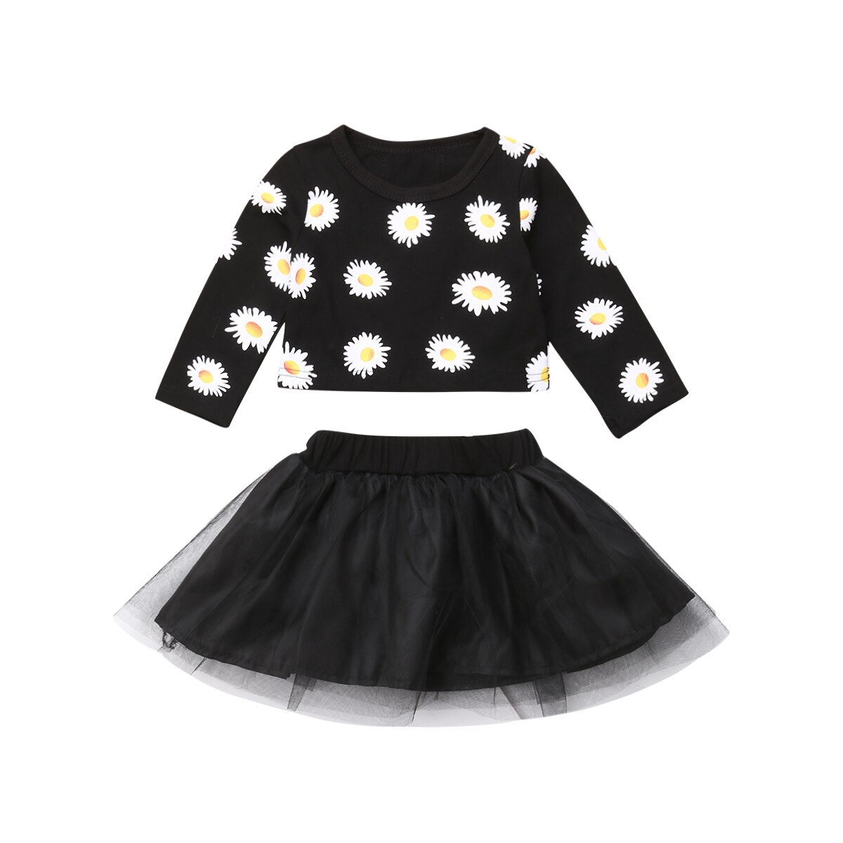 Fashion Newborn Baby Girls Flower Long Sleeve Tops Tulle Skirt Outfits Clothes-i