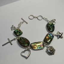 STERLING SILVER Lucas Lameth LUC Abalone Toggle Clasp Adjustable Charm B... - $43.56