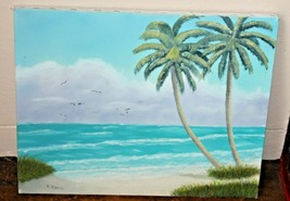 "Signed A. Greer  Ocean Seascape OIL PAINTING ON CANVAS 20"" x 16"" - $60.43"