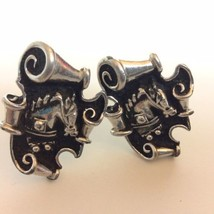 Vintage SWANK Horse Head Scroll Vintage Cuff Links Silver Tone - $17.77