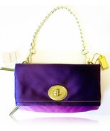 COACH Amanda Purple Satin Gold Mirror Leather F... - $199.00