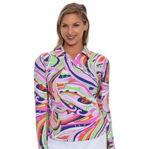 NWT Womens ICIKULS UPF 50 PINK PURPLE Long Sleeve Golf Shirt - size M 6 ... - $62.99